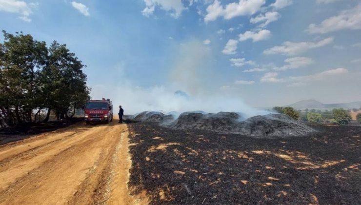 Uşak'ın Eşme ilçesinde çıkan yangında yaklaşık 400 dönüm tarım arazisinde zarar oluştu.